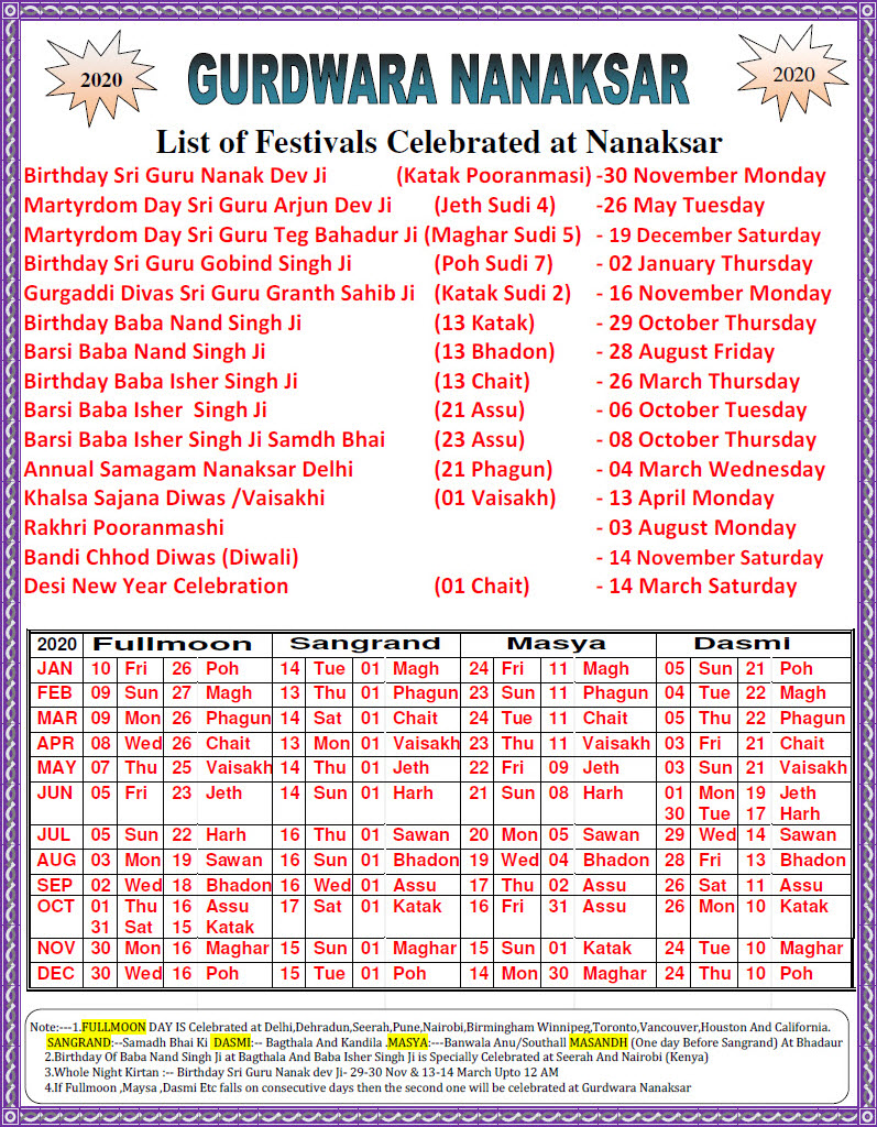 Gurdwara Nanaksar Monthly Events And Activities